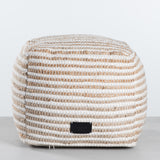 white and tan striped wool pouf