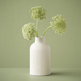modern white ceramic vase with stripe pattern