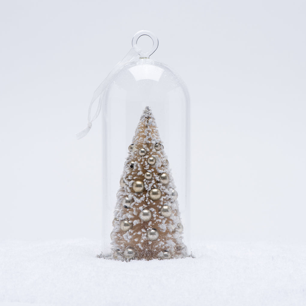 large white christmas tree cloche ornament