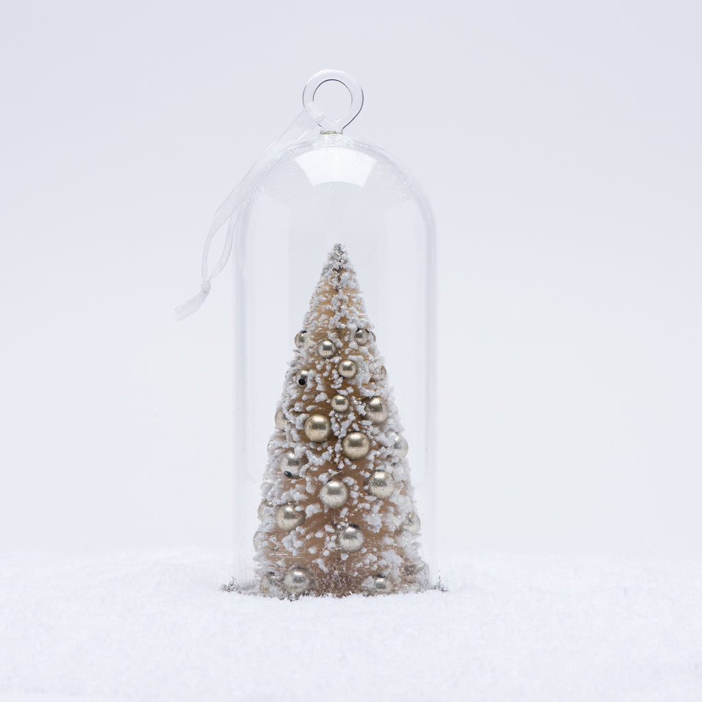 White Christmas Tree Cloche Ornament Magnolia