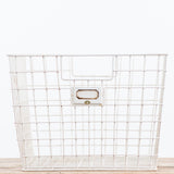white metal wire basket