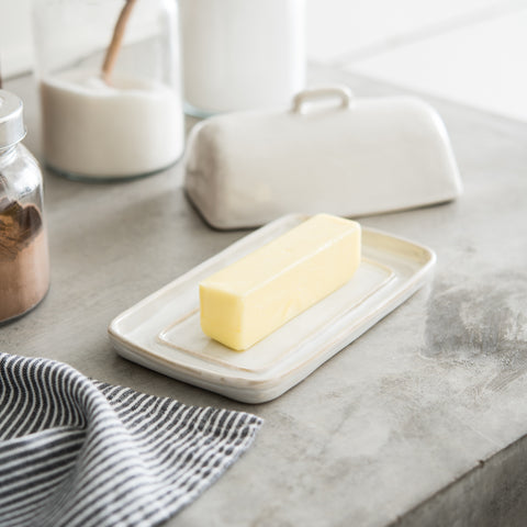 white ceramic magnolia butter dish