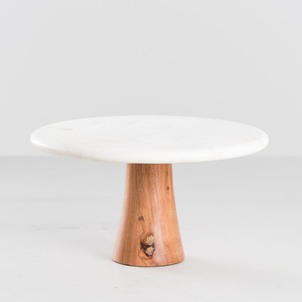 white marble and acacia cake stand
