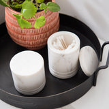 white marble bathroom canister