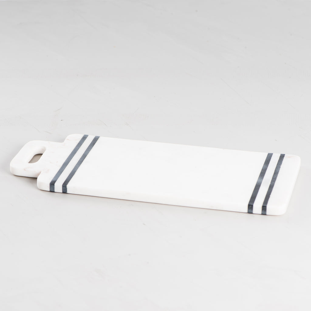 marble white with black stripes cutting board with handle