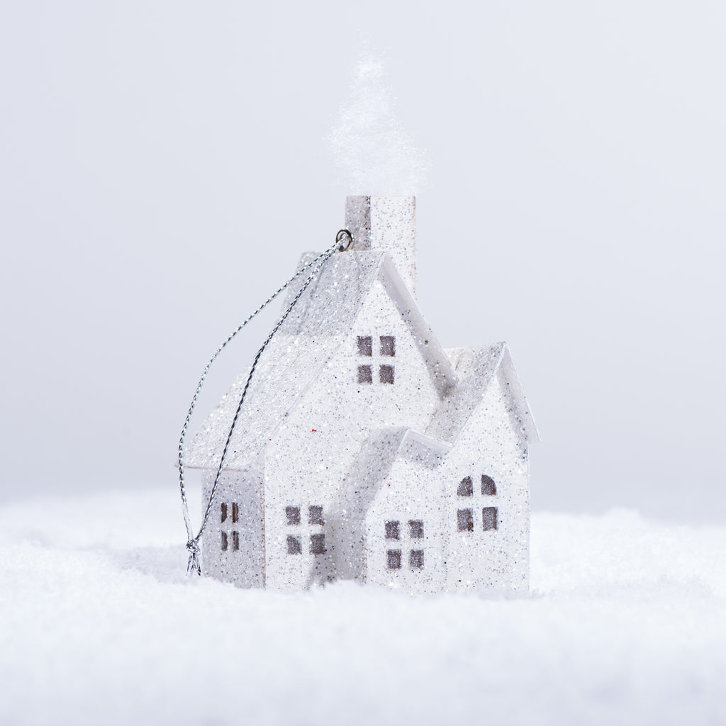 white paper house christmas ornament