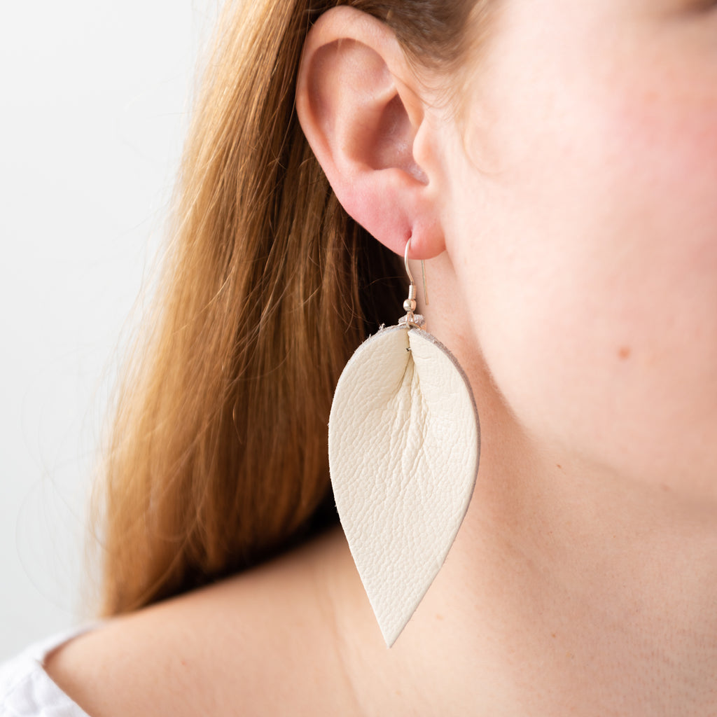 white leather leaf shaped earring