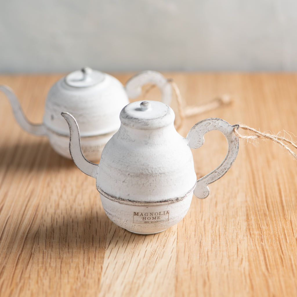 white painted metal teapot christmas ornament