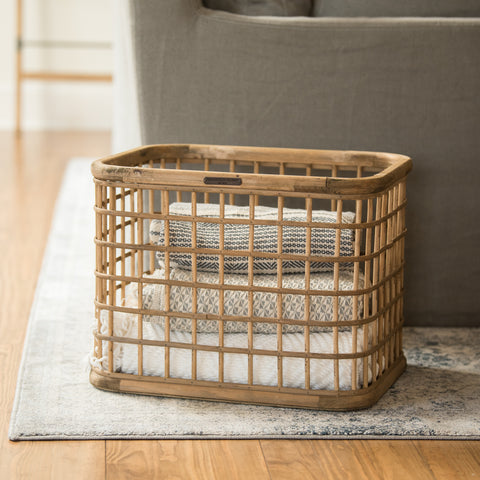 bamboo wood grid basket