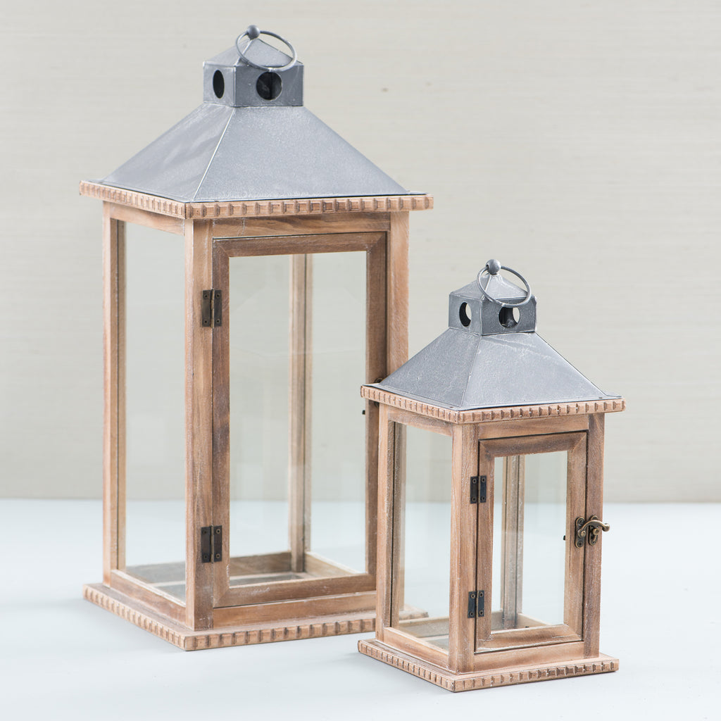 rectangular wooden candle lantern with glass walls and metal top