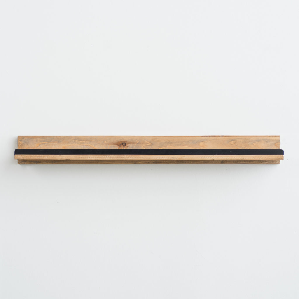 wood and metal ledge shelf