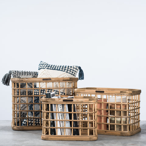 Wood & Bamboo Grid Basket