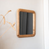 wood framed square mirror