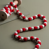 red and white felt ball garland