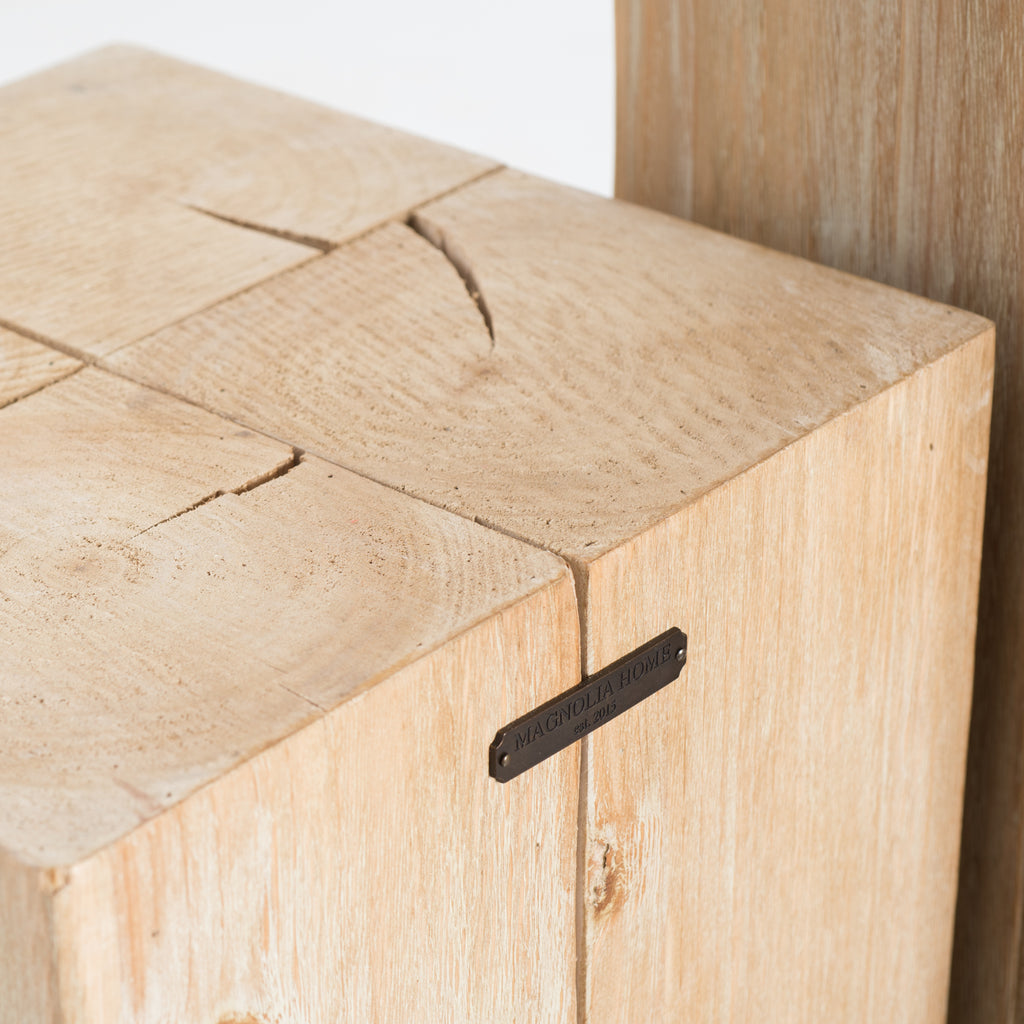 natural wooden block stool