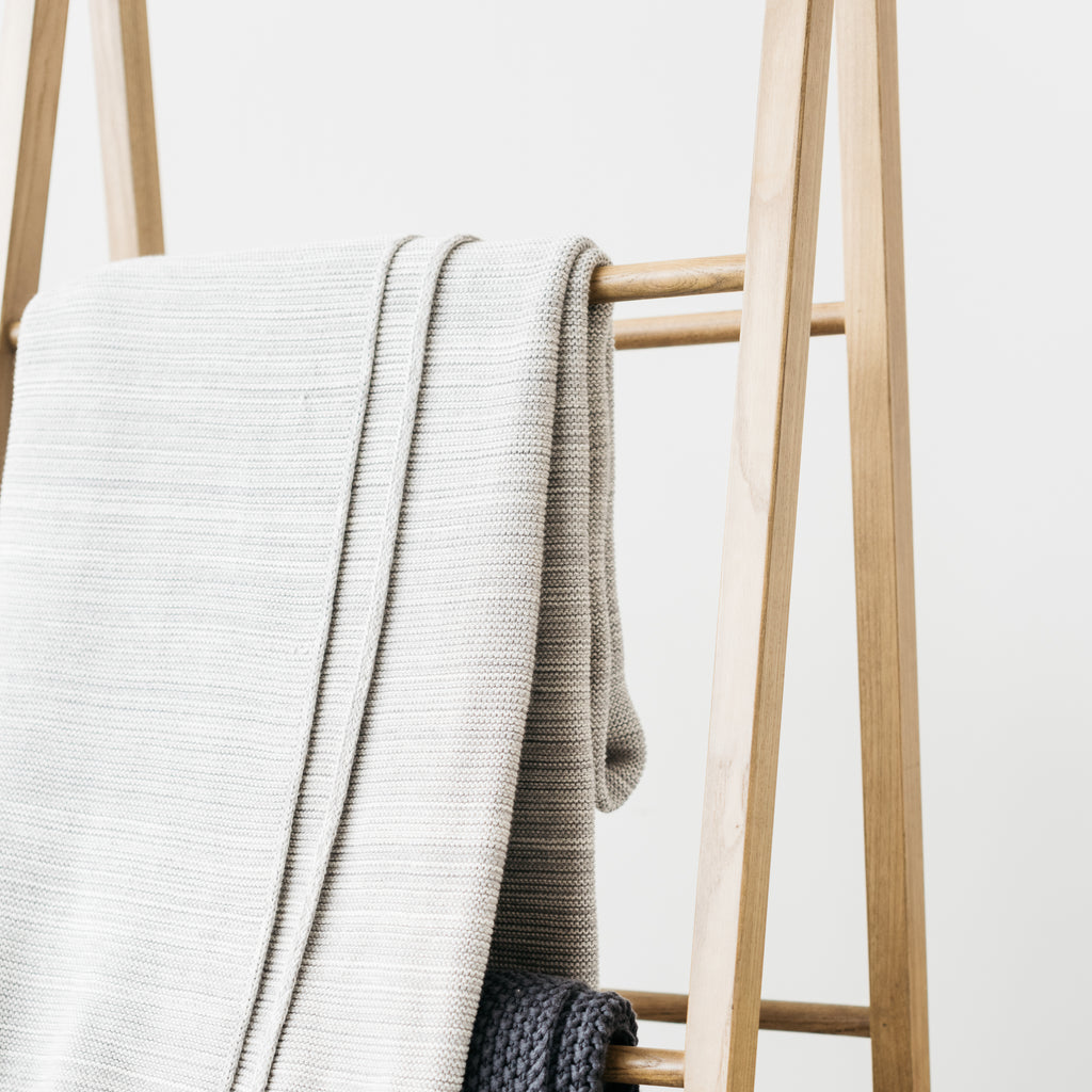 grey cotton throw blanket with tassels