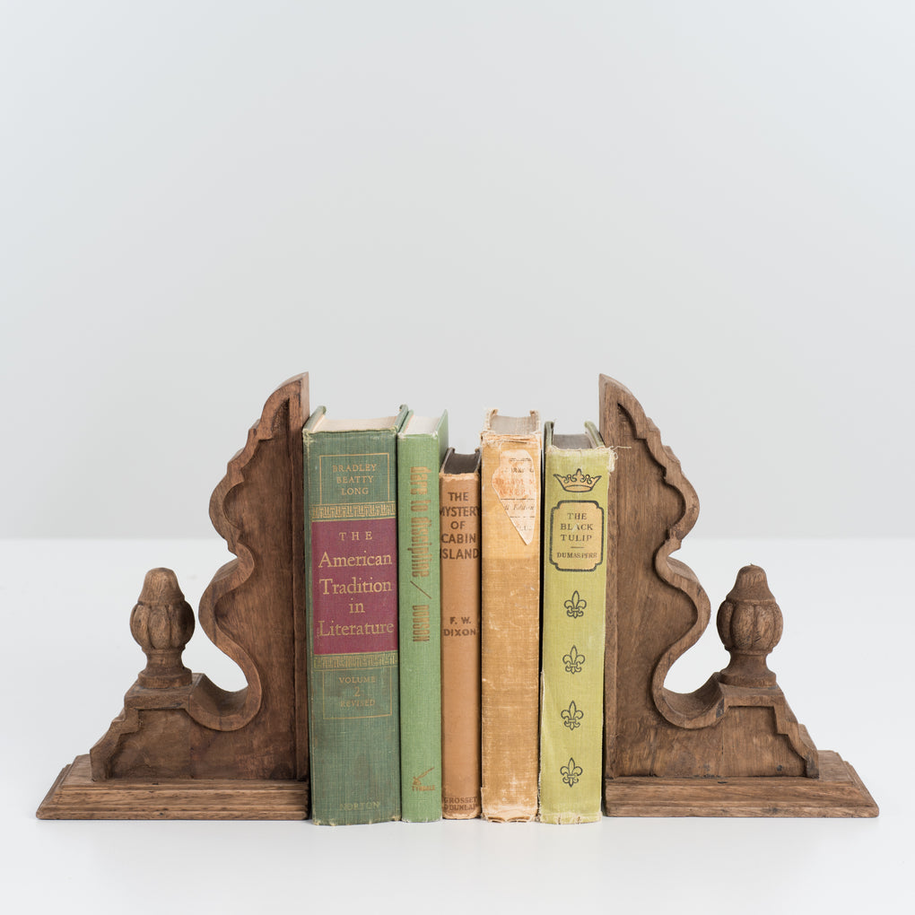 wooden finial corbel bookends