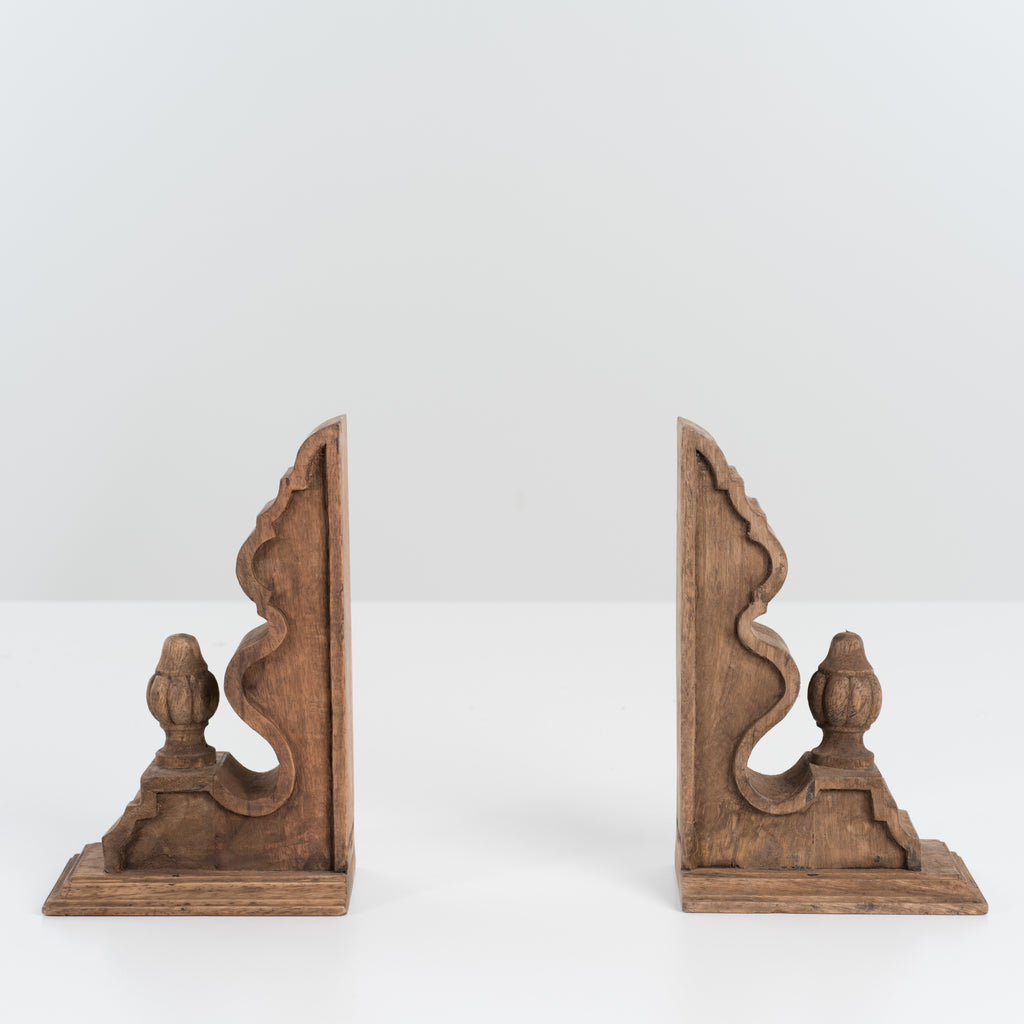set of wooden corbel bookends
