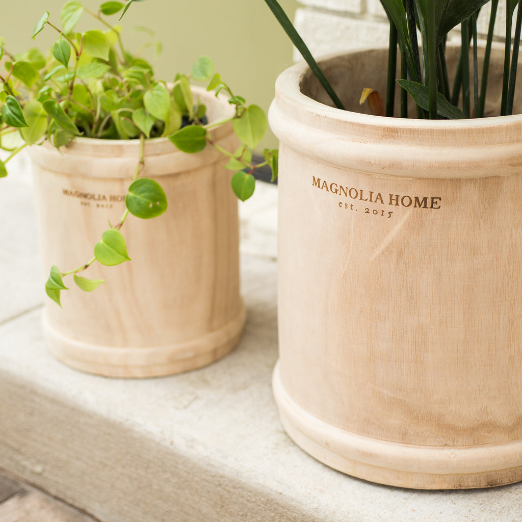 wooden pot with ring detail and Magnolia Home logo