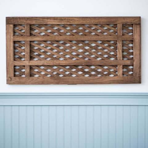 decorative rectangular wooden lattice wall art