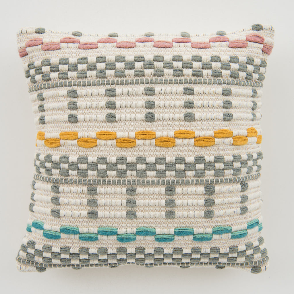 woven grey and white textured pillow with colored detail