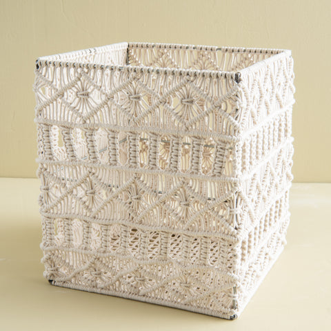 white woven thread rectangular basket with metal frame