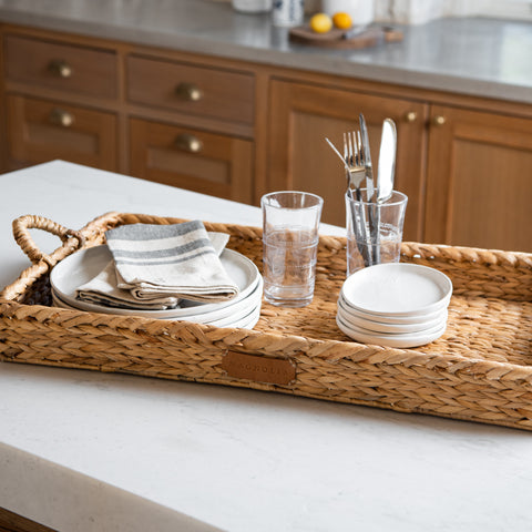 rectangular woven seagrass tray with handles