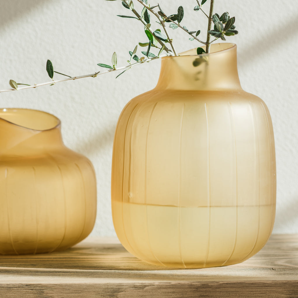 yellow glass bubble vase
