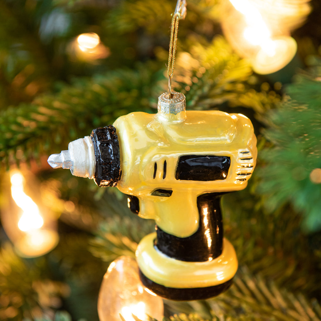 yellow power drill christmas ornament