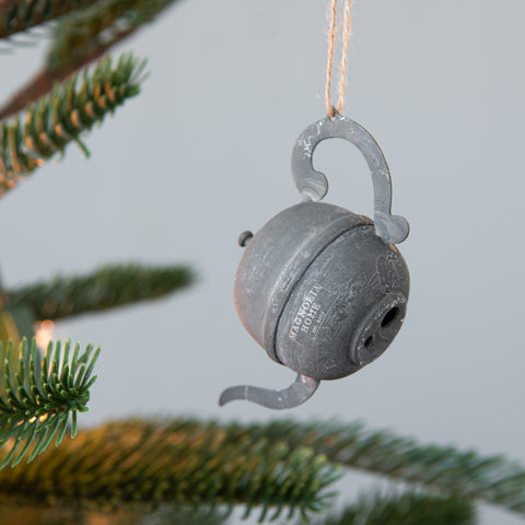zinc metal teapot christmas ornament