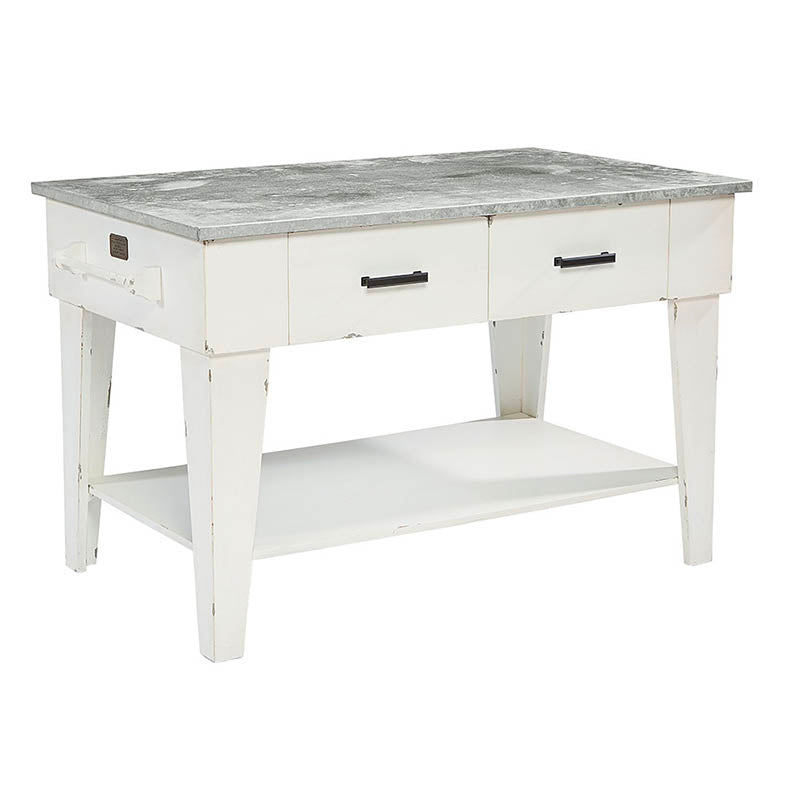 white wooden farmhouse kitchen island with zinc metal top and drawers