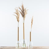 tall tapered glass and metal vases
