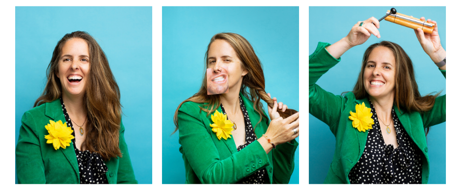 Three images of The Sock Drawer's CEO & Owner, Brooke English, smiling and making a silly face in front of a bright blue backdrop