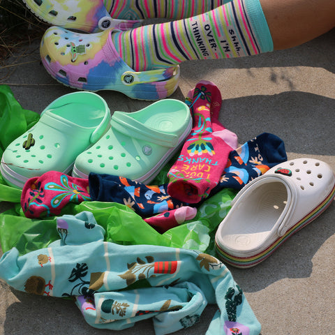 Crocs pair awesomely with our fun socks!