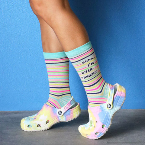 I'm Overthinking socks for women paired with Crocs