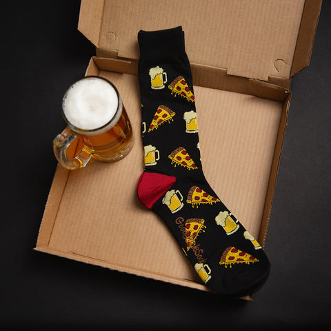 men's XL pizza and beer socks, sitting in a pizza box