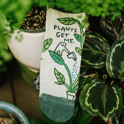 """Funny women's ankle socks that say, """"plants get me"""""""