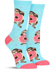 Funny women's socks with sloths eating donuts