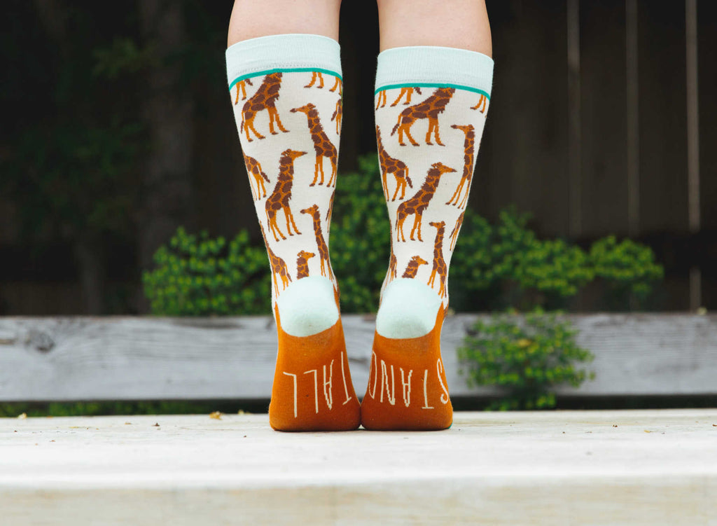 Cute Woven Pear Stand Tall Giraffe socks for women