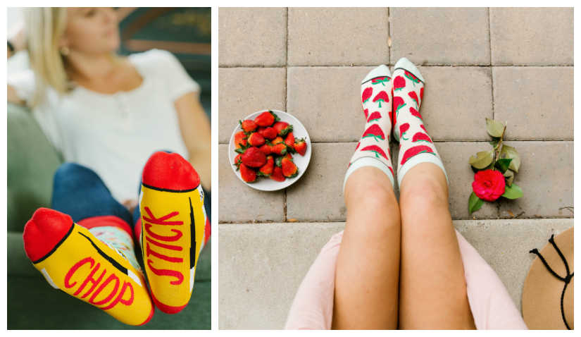 Cute collage of strawberry and chopstick sock by Woven Pear