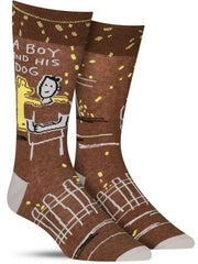 "Funny men's socks that say, ""A boy and his dog"""