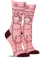 "Funny women's socks that say, ""Go away, I'm introverting"""
