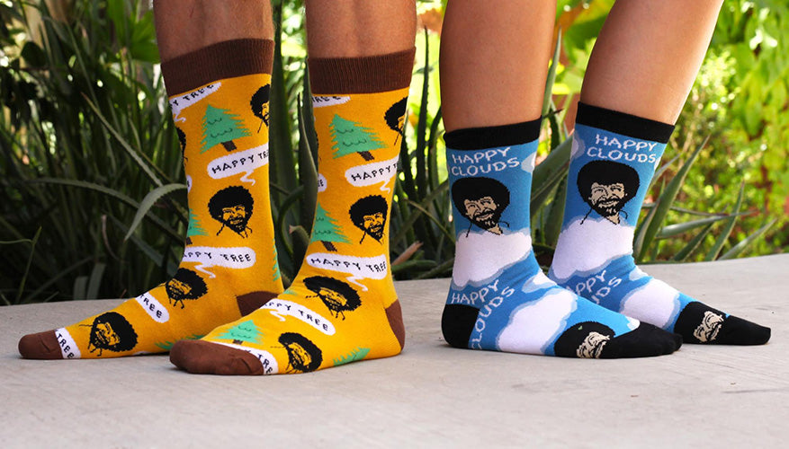bob ross happy clouds socks