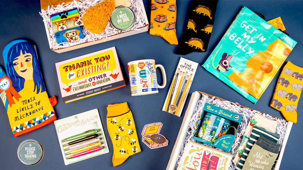 A variety of fun gift items from The Sock Drawer