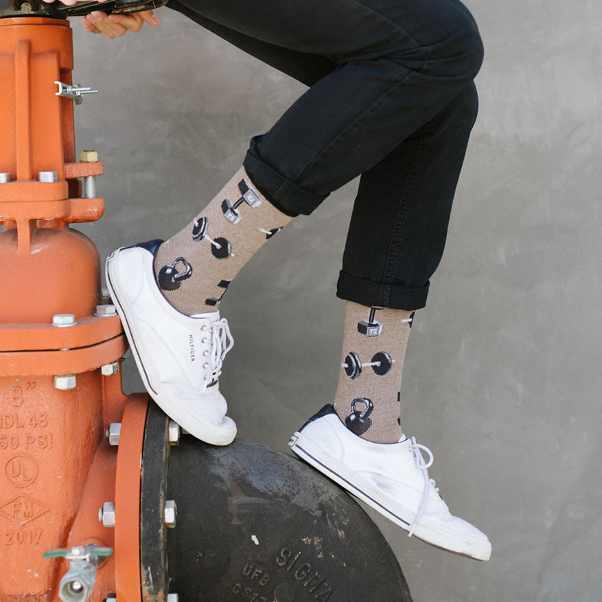 a person sporting a pair of do you even lift bro socks