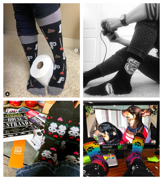 Fans wearing a variety of fun novelty socks