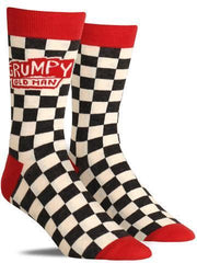 "Funny men's novelty socks that say, ""Grumpy old man"""