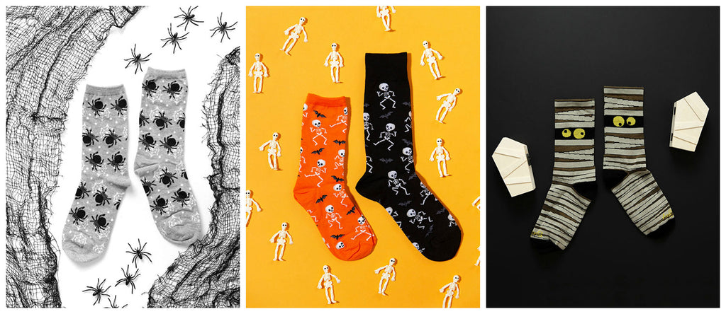 A variety of crazy Halloween socks