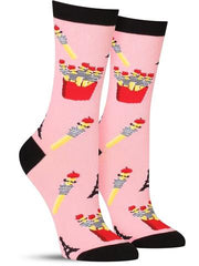 "Funny women's socks with ""French"" fries wearing berets"