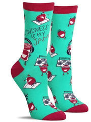 "Funny women's socks that say, ""Kindness is my jam"""